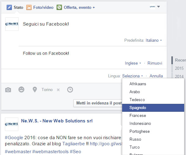 pubblicazione post in più lingue facebook