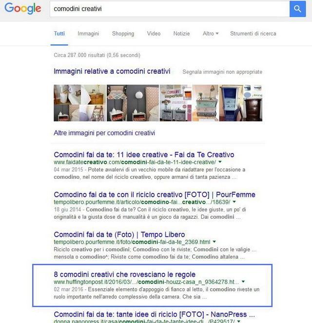 Articolo how-to di Huffington Post alla quarta posizione di Google