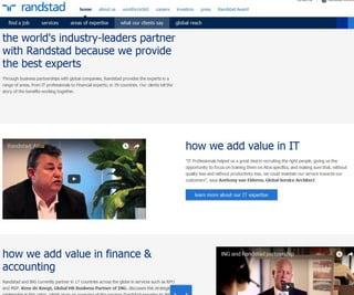 La pagina del sito Randstad con i commenti dei clienti