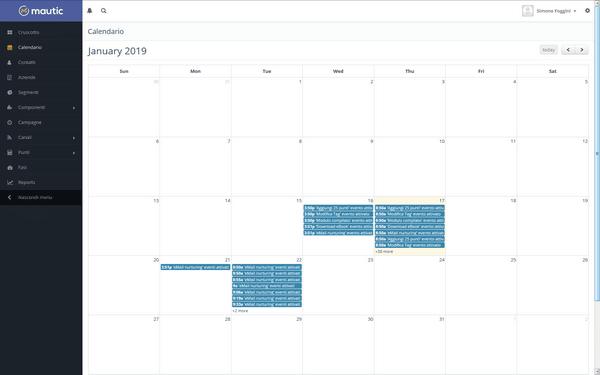 Un esempio di calendario per la schedulazione automatica delle attività di comunicazione